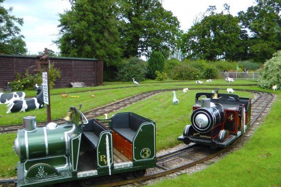 Wroxham Barnes - view of the model railway children's ride.
