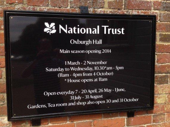 Oxburgh Hall Sign board