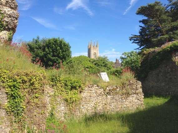 View of St Mary's from inside the keep at Bungay Castle