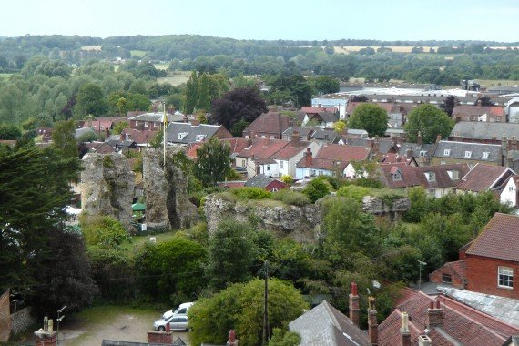 Bungay Castle from St Mary's Church Tower