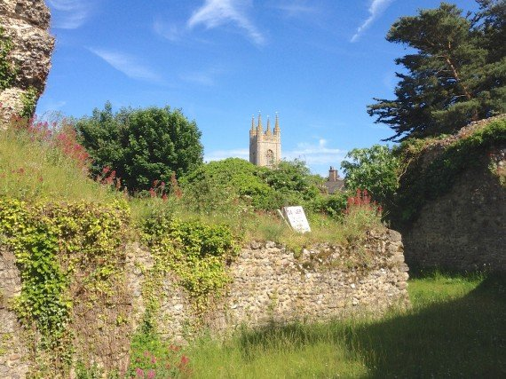 Bungay Castle with view to St Marys Church