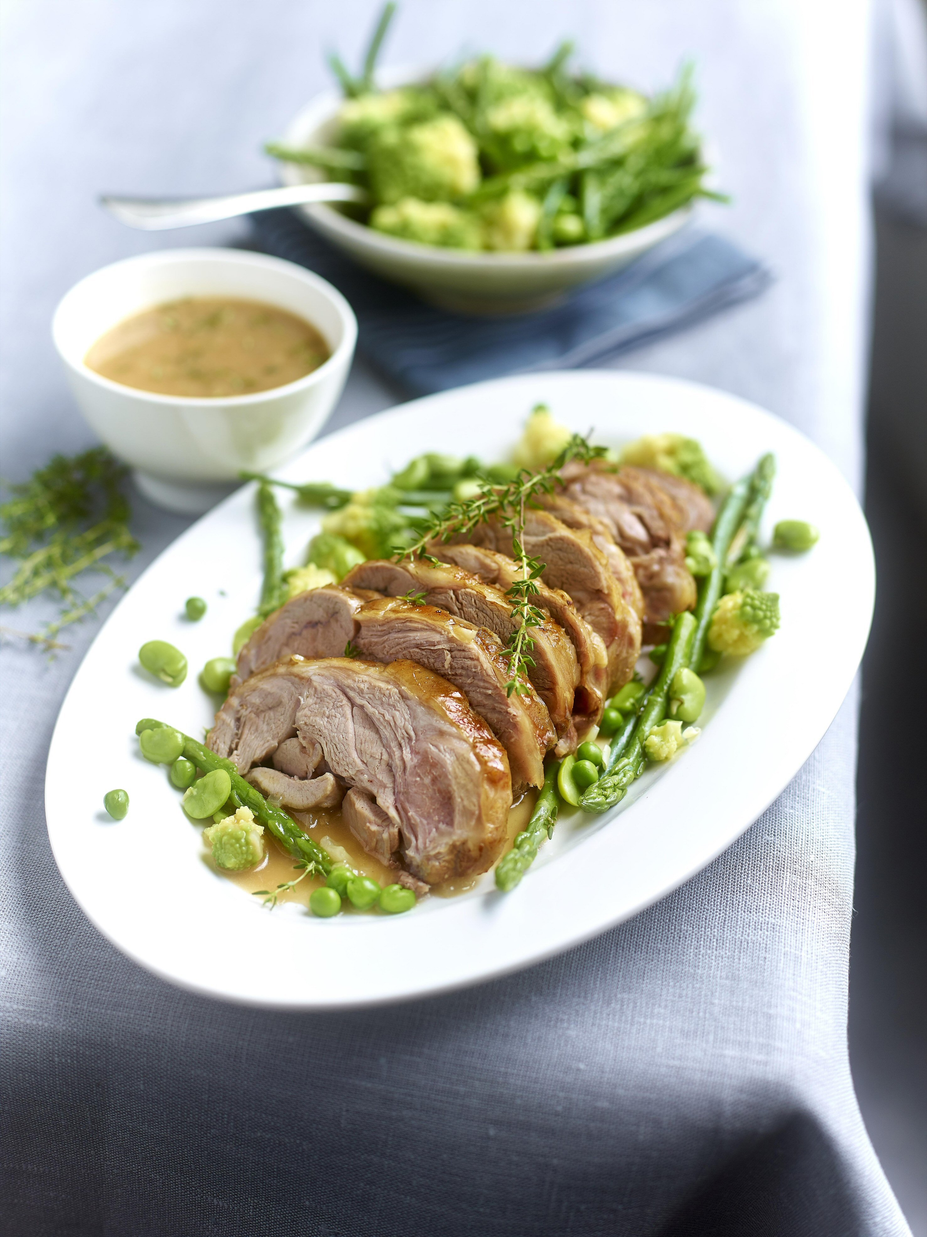 ROAST LAMB WITH THYME AND SPRING VEGETABLES